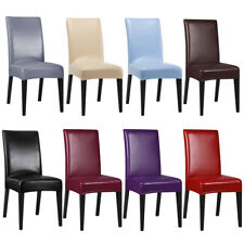 1/4/6Pcs Stretch Faux Leather Dining Room Chair Covers Seat Protector Slipcovers