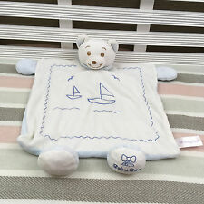 Baby Bow White & Blue Bear Sailing Ships Comforter Blanket Blankie Soother