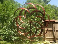 large 2 ft Kinetic wind Sculpture Modern Art Dual spinner metal outdoor Pinwheel