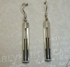 Beautiful Art Deco Style Sterling Silver Earrings, Building Motif, Konder #913