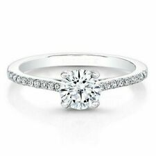 0.61 Ct Round Cut Real Diamond Engagement Rings 14K Solid White Gold Size 7 6 5
