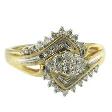 0.30ct Round Cut Diamond Ring Cluster Style Solid 10k Yellow Gold Cocktail Band
