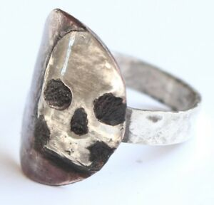 STERLING SILVER SKULL COPPER RING GOTHIC MACABRE MEMENTO MORI HAND MADE yr size