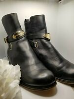 Michael Kors Black Genuine Leather Arley Gold Logo Plate Flat Ankle Boots SZ 6M