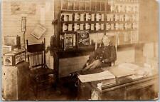 1917 HOUSTON, Texas RPPC Photo Postcard Service Gas Station INTERIOR Oil Cans