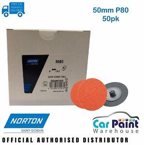 "Norton BLAZE X-Treme Life 50mm TR Sanding Discs 2"" Roloc 50pk Speedlok P80 Grit"