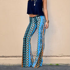 Sexy Woman Blue Bell-bottom pant Flared Trousers floral geometric printed S-XL