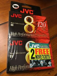 2 Pack JVC 8mm Video Cassette 120 MP NTSC P6 High Performance NEW FACTORY SEALED