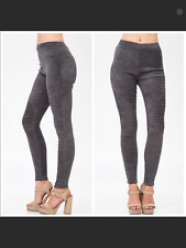 SEXY GRAY SUEDE MOTO LEGGINGS BNWT SIZE LARGE