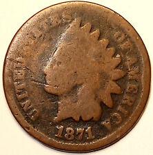 1871 Indian Head Cent  Semi-Key Bronze , Bold Date, L@@K!!!