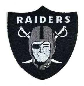 """NFL OAKLAND RAIDERS IRON ON PATCH 3.5"""" x 3.5"""" SEW EMBROIDERED LOGO VINTAGE RETRO"""