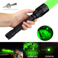 150Yards Hunting Green LED Flashlight Zoomable Convex Lens Torch Switch Control