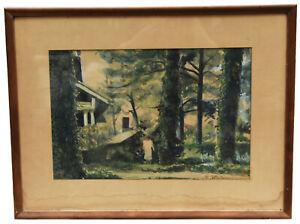 """17"""" Antique Watercolor Painting Signed William Dahlmann Cottage Forest Landscape"""