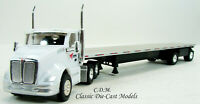 Kenworth T680 Day Cab White CARDINAL LOGISTICS w/Flatbed Trailer 1/87 HO TNS081