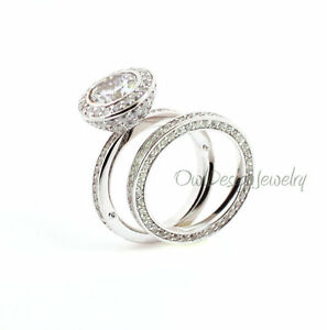 Sterling Silver Rhodium Plated Clear CZ Round Beautiful Bridal Ring Set