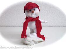 poly enfant de neige blanc ski Départ 12 cm bonhomme avec Bonnet en tissu +