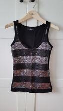 MELROSE T-Shirt Top schwarz mit Glitzer/Pailetten Gr. 32/34