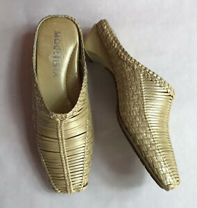 MODELLISTA gold leather bronze  DRIVE MULES clog SHOES 7 M Italy EUC