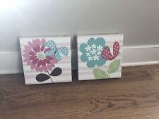 Sale!Set Of 2 Summer Infant Petals Canvas Wall Art Pink Blue Floral Nursey Decor