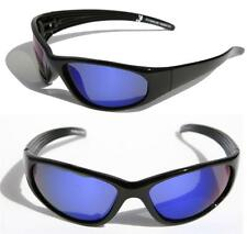 MEN Black Polarized Sunglasses with Blue Mirror lens Wrap around shades FISHING.