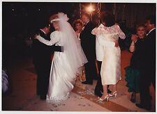 Vintage 80s PHOTO Of WEDDING Couple Bride Groom Dancing w/ Guests At Reception
