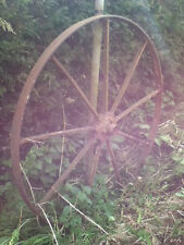 Original Antique Rustic Large Cast Iron Cart Wheel Wagon Garden Ornament(BC096)