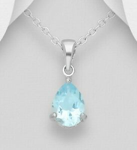 925 Sterling Silver Solitaire Pendant Faceted Blue Topaz Gemstone Dainty Design