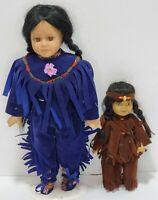 "2 Vintage 14"" & 8"" Collection Native American Indian Fine Porcelain Dolls"