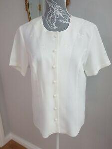 Vintage 90s Honor Millburn Blouse White/ivory Embroidered Size 12