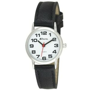 Ravel Womens Bold BIG NUMBERS Ladies Watch With SILVER Casing Black Strap