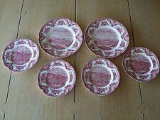 6 JOHNSON BROS ENGLAND PINK OLD BRITAIN CASTLES PLATES CHATSWORTH HADDON HALL