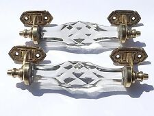 large  clear  door handles of brass and cut glass (pair) antique style