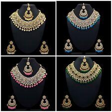 Indian Wedding Kundan Fashion Necklace Set with Earrings and Maang Tikka
