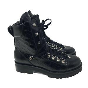ALLSAINTS Franka Croco Leather Ankle Boots - Black - UK 6/EU 39M - £285