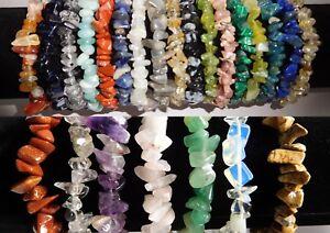 Gemstone Crystal Chip Bracelet 36 Types Carnelian Rhodonite Citrine Blk Obsidian