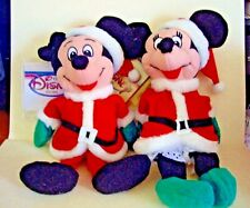 "Retired Disney Mini Bean Bag Santa Mickey & Minnie Mouse 7"" Plush Dolls"