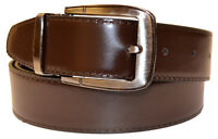 New Mens Chocolate/Black Reversible Smooth Genuine Leather Wide Width Belt