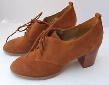CIRCA Joan David LUXE Suede Brown Leather Lace Up Granny Chunky Heels 9 CJAVERSA
