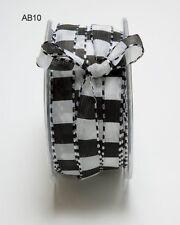 1/2 Inch Black/White Squared Stitch Ribbon - May Arts AB10 - 5 yards