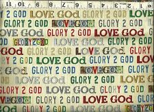 QT ~ Love Glory to God Faith Religious Cream ~ 100% Cotton Quilt Fabric BTY