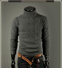 Pullover Sweater Roll Turtle Neck Jumper Tops Knitwear Mens Winter Knitted Polo Deep Gray XL UK M