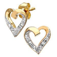 Naava Womens 9 Ct Yellow Gold Diamond Heart Earrings