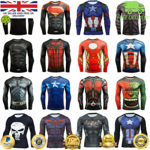 Mens Compression Top Workout cross fit MMA Cycling Running High Quality Cosplay