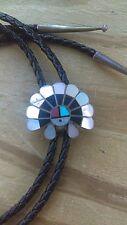 Sterling Silver Bolo Tie Vintage Zuni Multi Stone Inlay