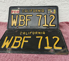 Vintage Original Pair 1963 California Black License Plates WBF 712