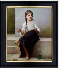 Framed Hand Painted Oil Painting Repro William Bouguereau Sewing, 20x24in