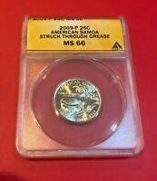 2009 P 25 CENTS AMERICAN SAMOA STRUCK THROUGH GREASE ANACS MS 66 MINT ERROR