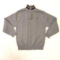 Dockers Boy's Sweater Long Sleeve Zip Neck Size Medium 10-12 Grey Black