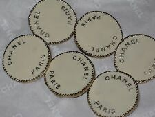 CHANEL  PARIS 6 GOLD WINTER WHITE  METAL BUTTON  26  MM  NEW LOT 6
