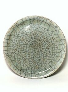 ED077 A large crackle Ge celadon charger Ming dynasty period.